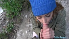 Outdoor muff banging cute little Aria Alexander Thumb