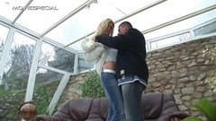 Notorious blonde hottie sizzling hot outdoor pussy bashing fun Thumb