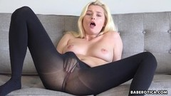 Steamy Solo blonde, Carolina Sweets is wearing nylons Thumb