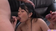 Kinky guys throat her and play with cock Thumb