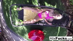 Naughty Big tittied Alix Lynx fucks herself hard on a hammock! Thumb