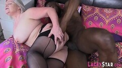 Kinky Grandma takes pussy pounding from black dong Thumb