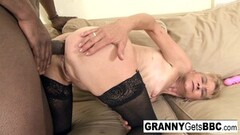 Mature blonde gets a anal creampie from BBC Thumb
