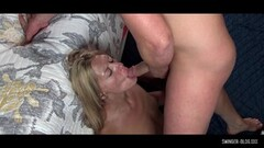 Naughty Blonde MILF Kayla sucking cock and getting a load Thumb