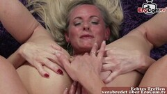 Cute German mature anal lesbian try out with dildo fuck Thumb