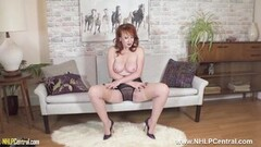 Big titted Milf Red finger fucks in nylons and high heels Thumb