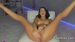 Naughty Hot Babe Dildos Her Pussy Thumb