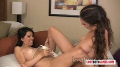 What Happens when 3 hotties and 1 Vibrator are Alone? Thumb