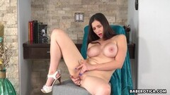 Frisky Solo, curvaceous babe, Lilian Stone rubs pussy Thumb