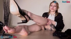 Hot Redhead Secretary in Stockings Under the Desk Shoeplay Thumb