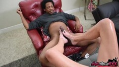 Naughty MILF in Lingerie Sofie Marie Gives Footjob to Big Cock Thumb