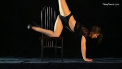 Kinky Naked Gymnast Kim Nadara Doing Gymnastics on Chair Thumb