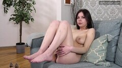 Horny Brunette Shaved Virgin Pussy Teen Ira Pizdunka Casting Thumb