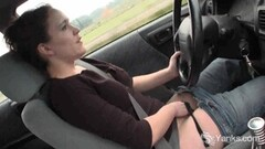 Hot Beauty Lou driving and rubbing her wet pussy Thumb
