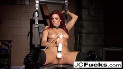 Frisky Bound hottie pleases herself while still chained up! Thumb