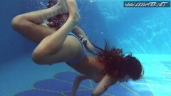 Frisky Two Hot Lesbian Brunettes in The Swimming Pool Thumb