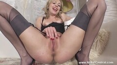 Frisky Blonde Peels Off Panties in Masturbation Masterclass Thumb