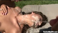 Sexy Outdoor Threesome And A Facial Thumb